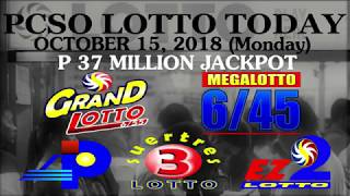 Lotto Result Today, October 15, 2018 (Monday) - PCSO LOTTO TODAY