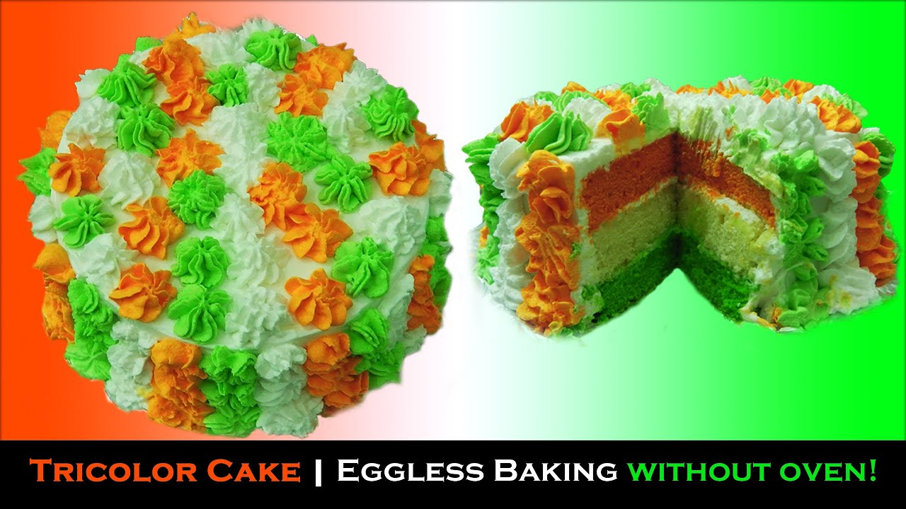 Cooker Cake Tricolor Eggless Baking Without Oven