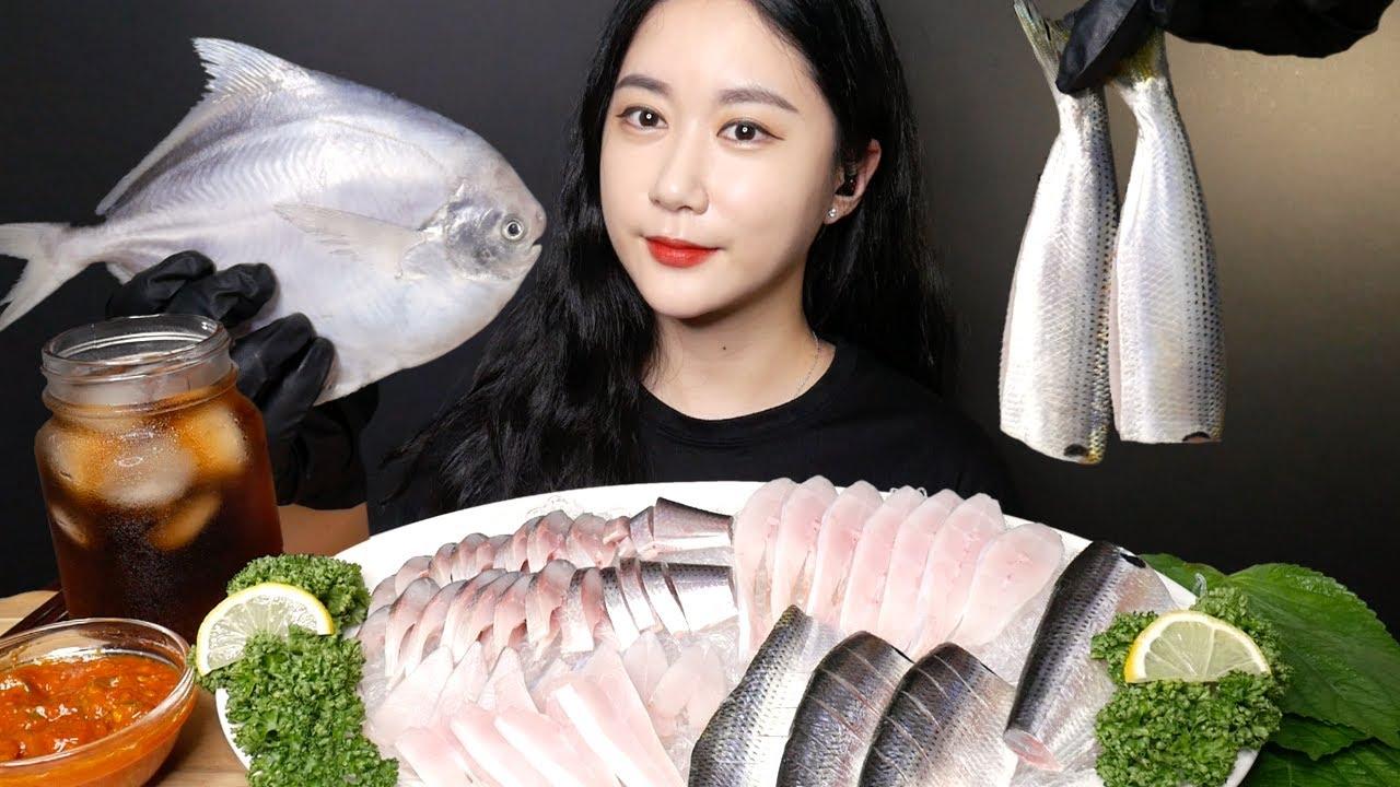 제철 전어회랑 병어회 함께 먹어보기 [Raw Fish] BUTTER FISH, GIZZARD SHAD Real Sound MUKBANG   ASMR   EATING SOUND