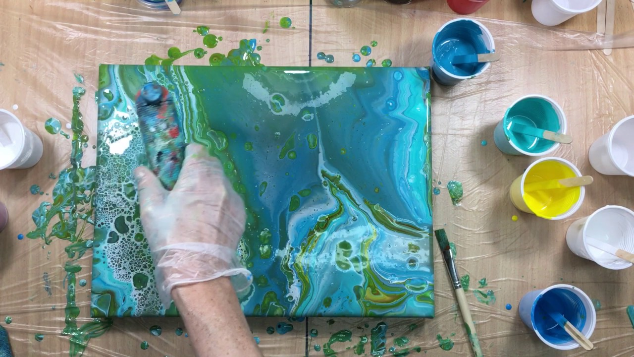 243 3 Pours Floetrol Only And The Dried Resin Painting Youtube