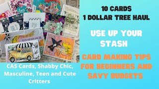 10 cards 1 Dollar Tree Haul/ 5 styles and lots of card making tips for different budgets