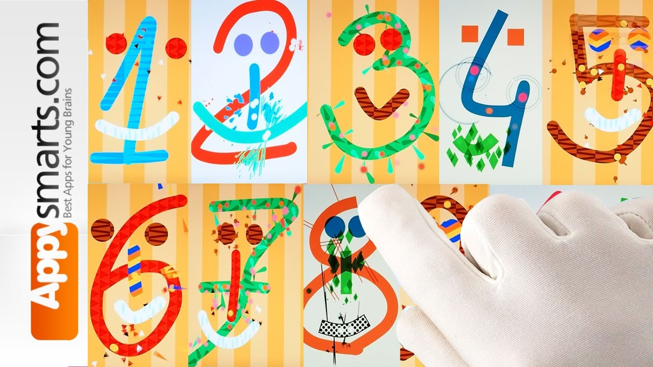 Numbers counting 1 to 10 - fun video for kids (based on iPad app Bubl Draw)