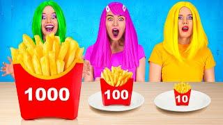 BIG VS MEDIUM VS SMALL CHALLENGE || Giant vs tiny food challenge for 24 hours with 123 Go! FOOD