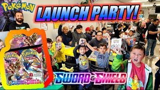 BEST NEW POKEMON CARDS BOOSTER BOX BATTLE! BIGGEST SWORD AND SHIELD LAUNCH PARTY AT PSYCHO TURTLE!