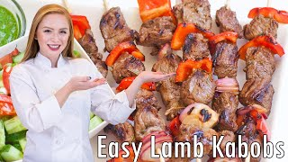 Easy Lamb Kabobs Recipe With Sauce And Salad