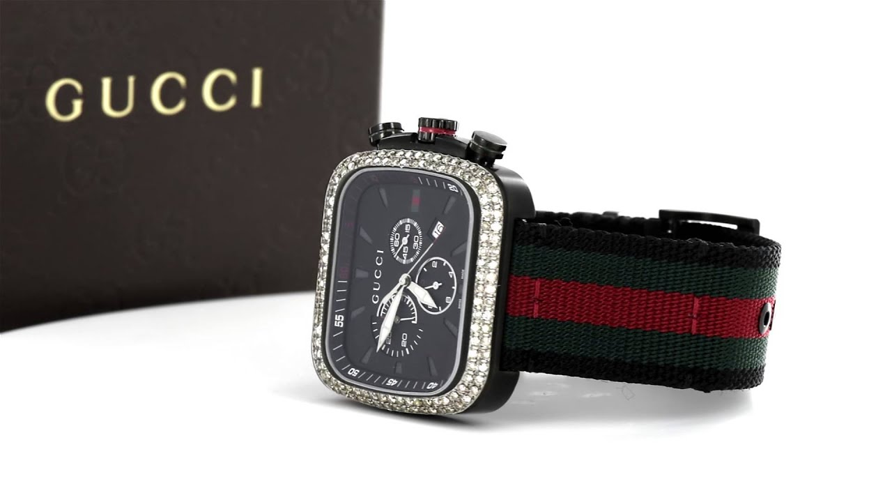 51be7de162c GUCCI G-COUPE BLACK PVD WITH GUCCI FLAG NYLON BAND MEN S WATCH YA131202  4.00CT