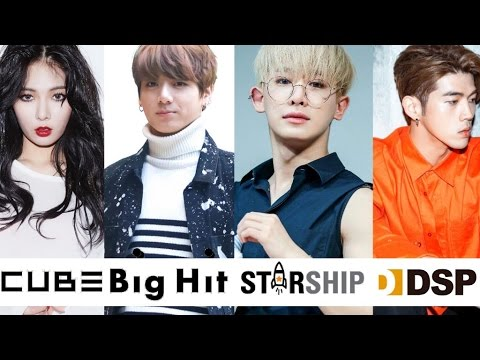 Most Viewed Music Videos From Big Hit, Cube, Starship, & DSP