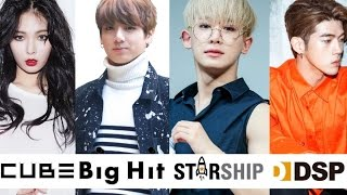 Most Viewed Music Videos From Big Hit, Cube, Starship, + DSP