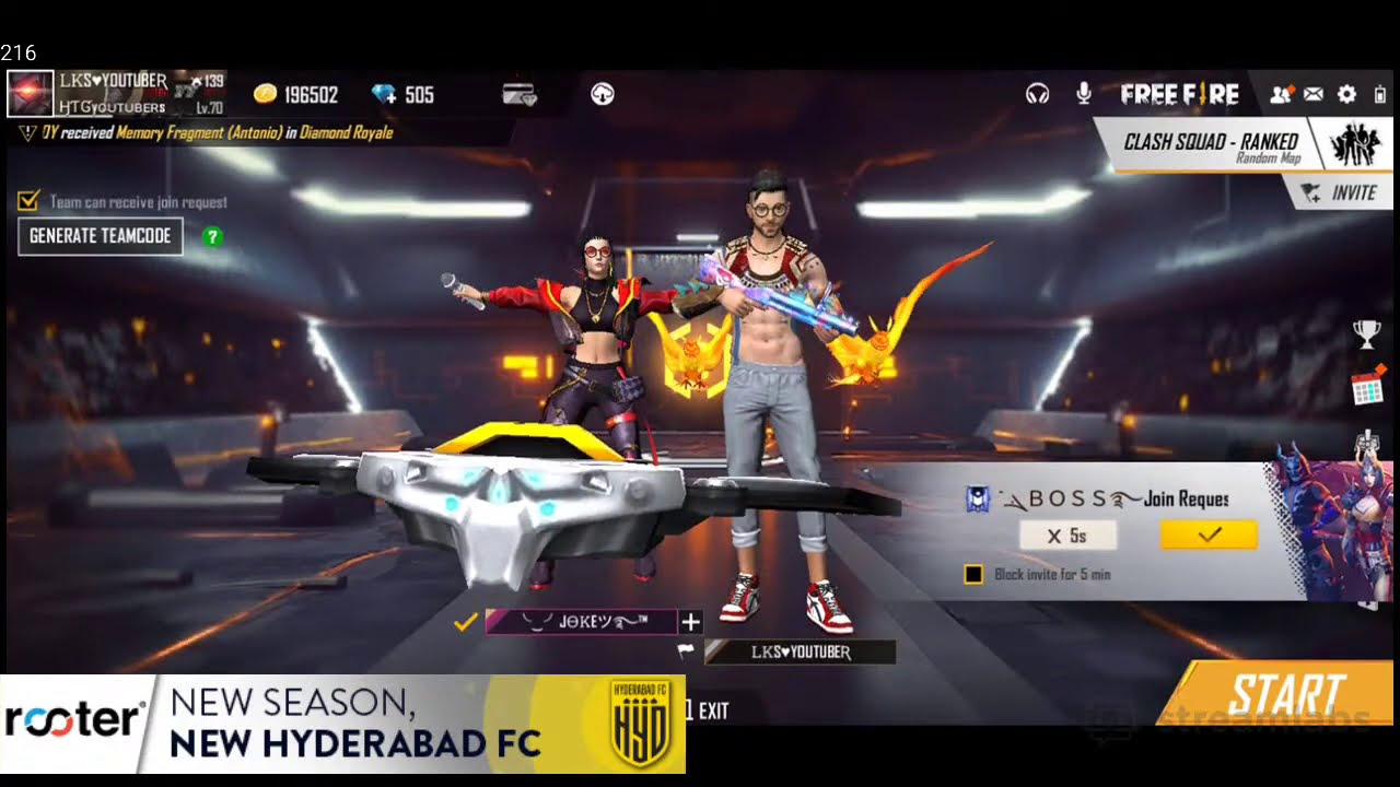 HTG Diamonds Giveaway | Free Fire Live Telugu | Download Rooter App |