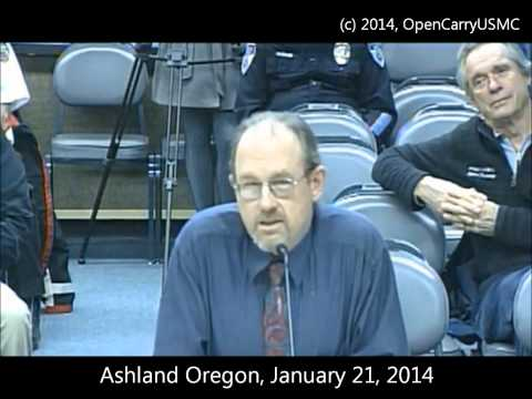 Open Carry and speaking at Ashland Oregon City Council meeting
