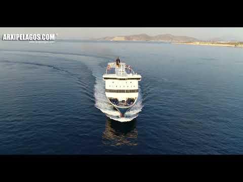 BLUE STAR 1 (Ro-Ro/Passenger Ship) arrival at Piraeus Port (Greece) Aerial Drone Video