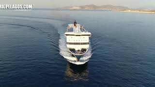 BLUE STAR 1 (Ro-Ro/Passenger Ship) arrival at Piraeus Port (Greece) Aerial Drone Video