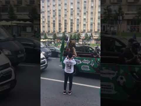 Медведь празднует победу сборной России по футболу над Саудовской Аравией