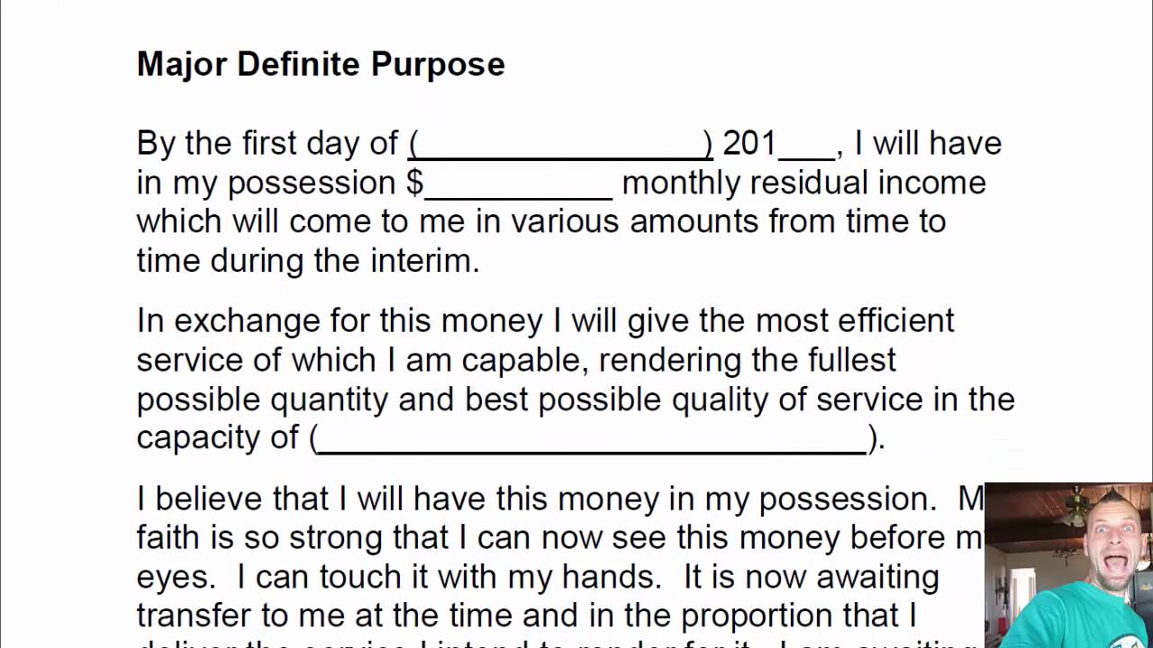 Major Definite Purpose Worksheet Template
