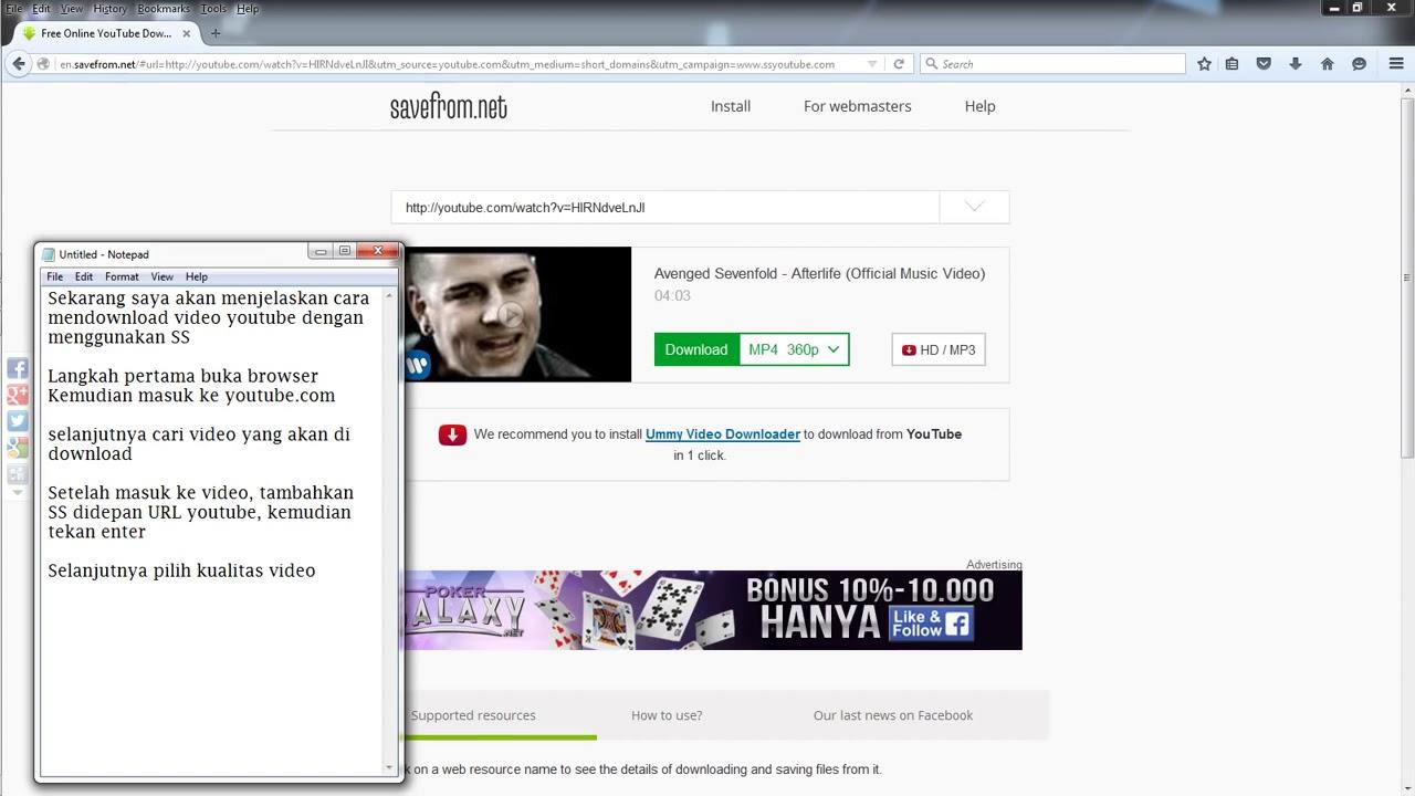 cara download video dari youtube ss
