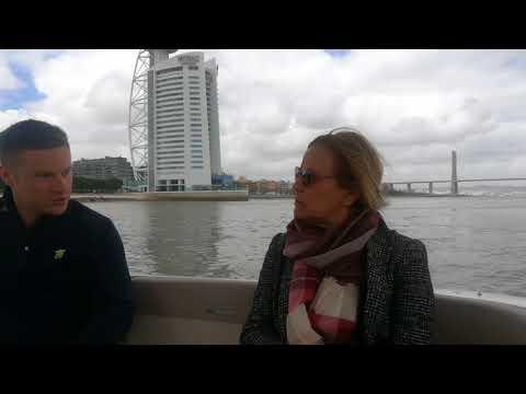 Lisboa E-Nova on a solar boat in Lisbon