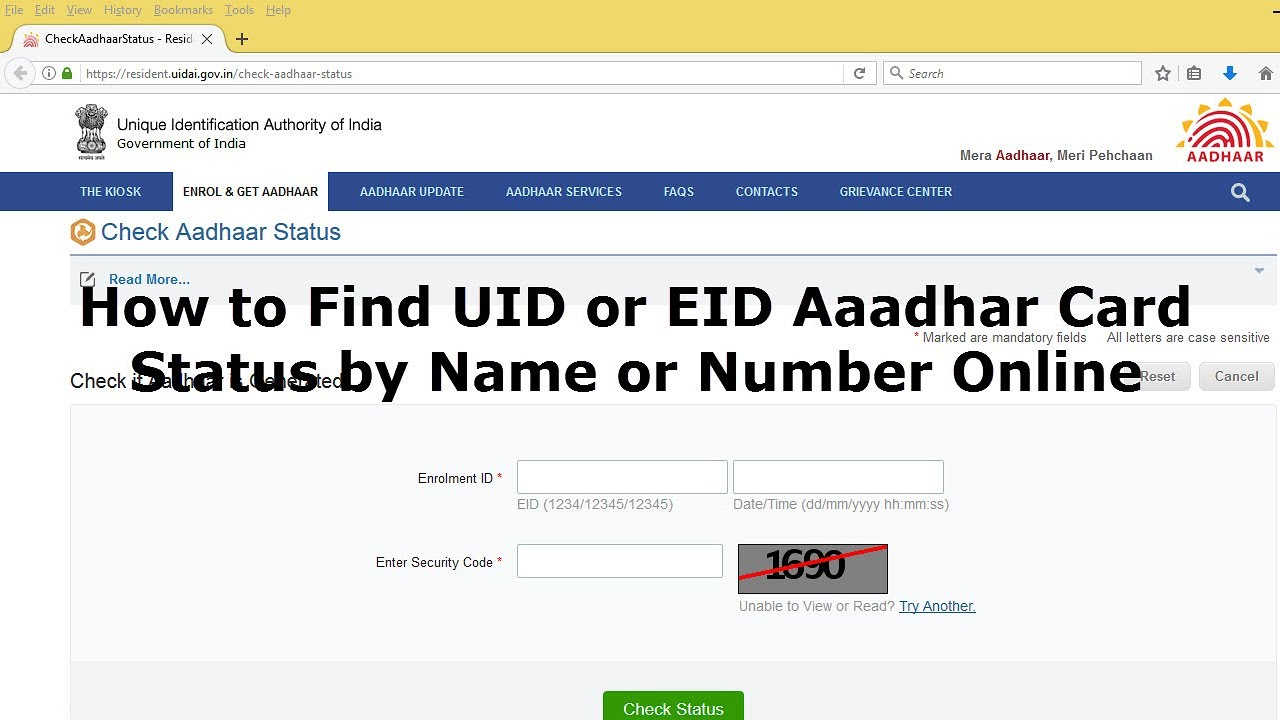 How to Find/Check UID or EID Aaadhar Card, Status by Name or Number Online