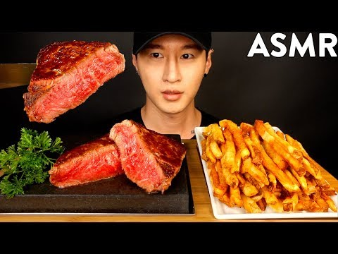 ASMR A5 WAGYU TENDERLOIN & GARLIC FRIES MUKBANG (No Talking) COOKING & EATING SOUNDS