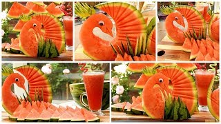 HOW TO QUICKLY CUT AND SERVE A WATERMELON PEACOK OR BIRD - Watermelon Juice (Part 1)