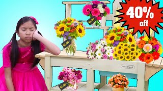 Wendy Opens a Toy Flower Shop  Fun Shopping Video with Kids Toys