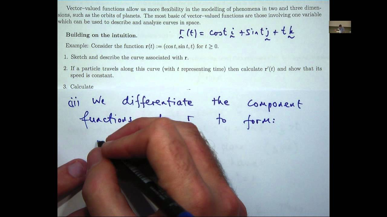 Vector functions of one variable tutorial