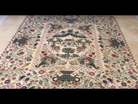 46. Готовые работы Inspiration Rosewood Manor и Sampler Santa, французский шелк, натягивание вышивки