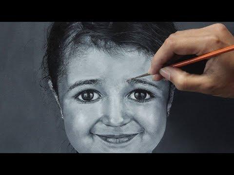 Acrylic Portrait Painting | Black & White | Portrait of a cute girl | 2018