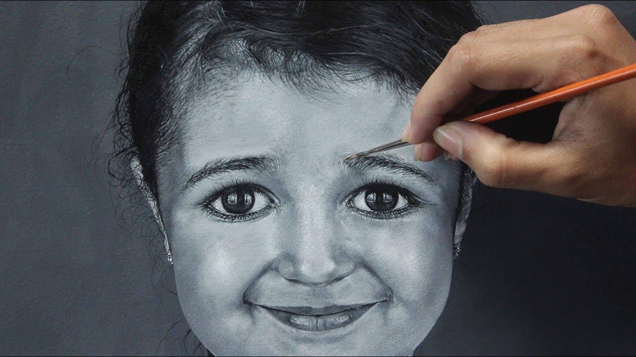 Acrylic portrait painting black white portrait of a cute girl 2018