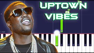 Meek Mill - Uptown Vibes Piano Tutorial EASY (Piano Cover) ft. Fabolous & Anuel AA