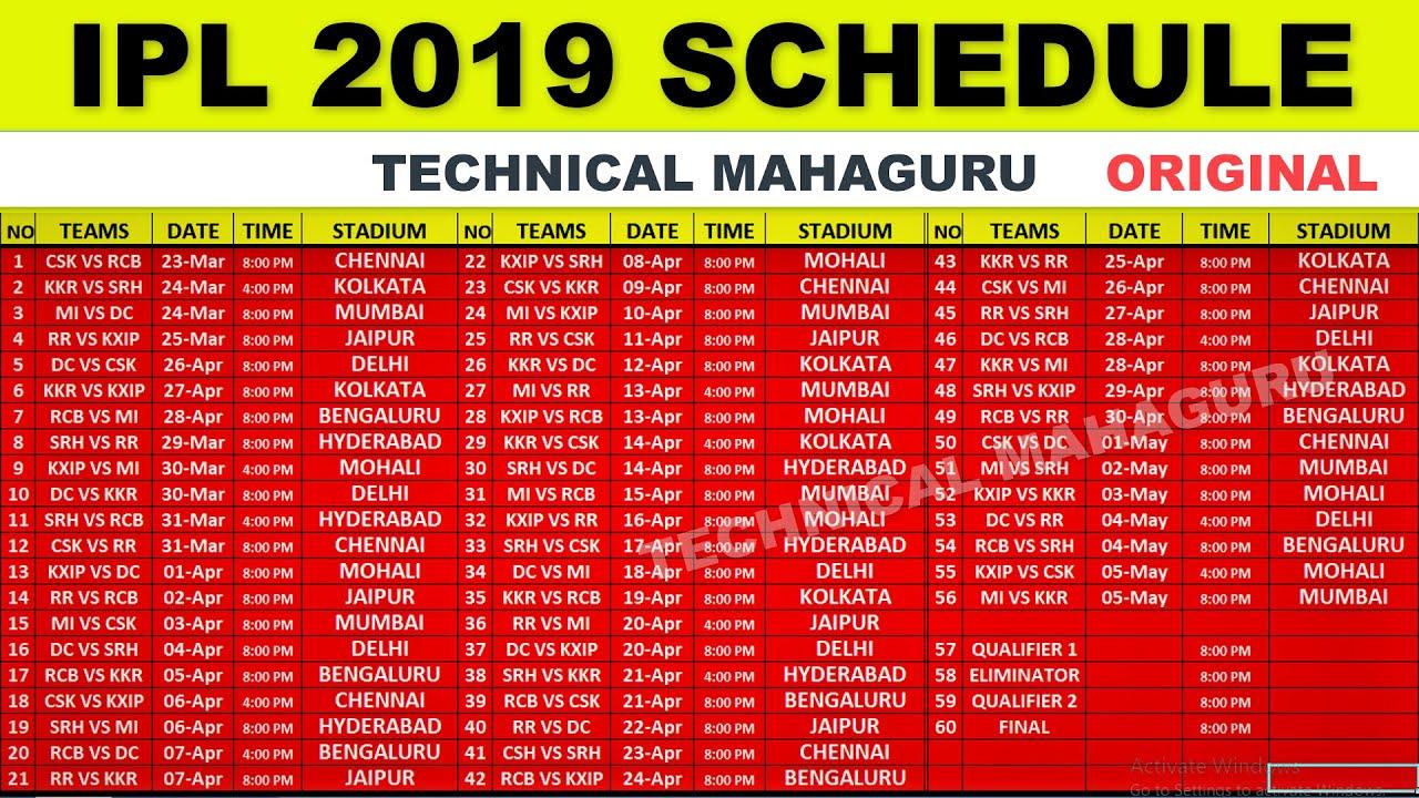 Ipl 2019 schedule in bangalore dating