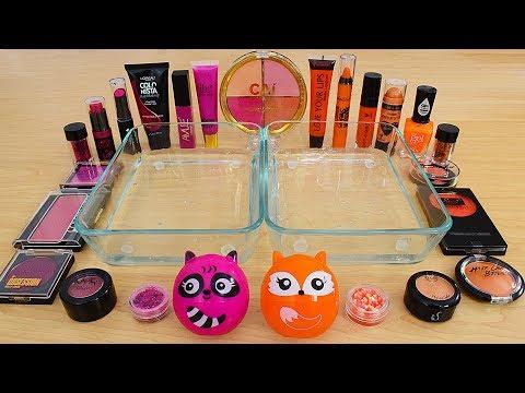 Pink vs Orange - Mixing Makeup Eyeshadow Into Slime Special Series 239 Satisfying Slime Video