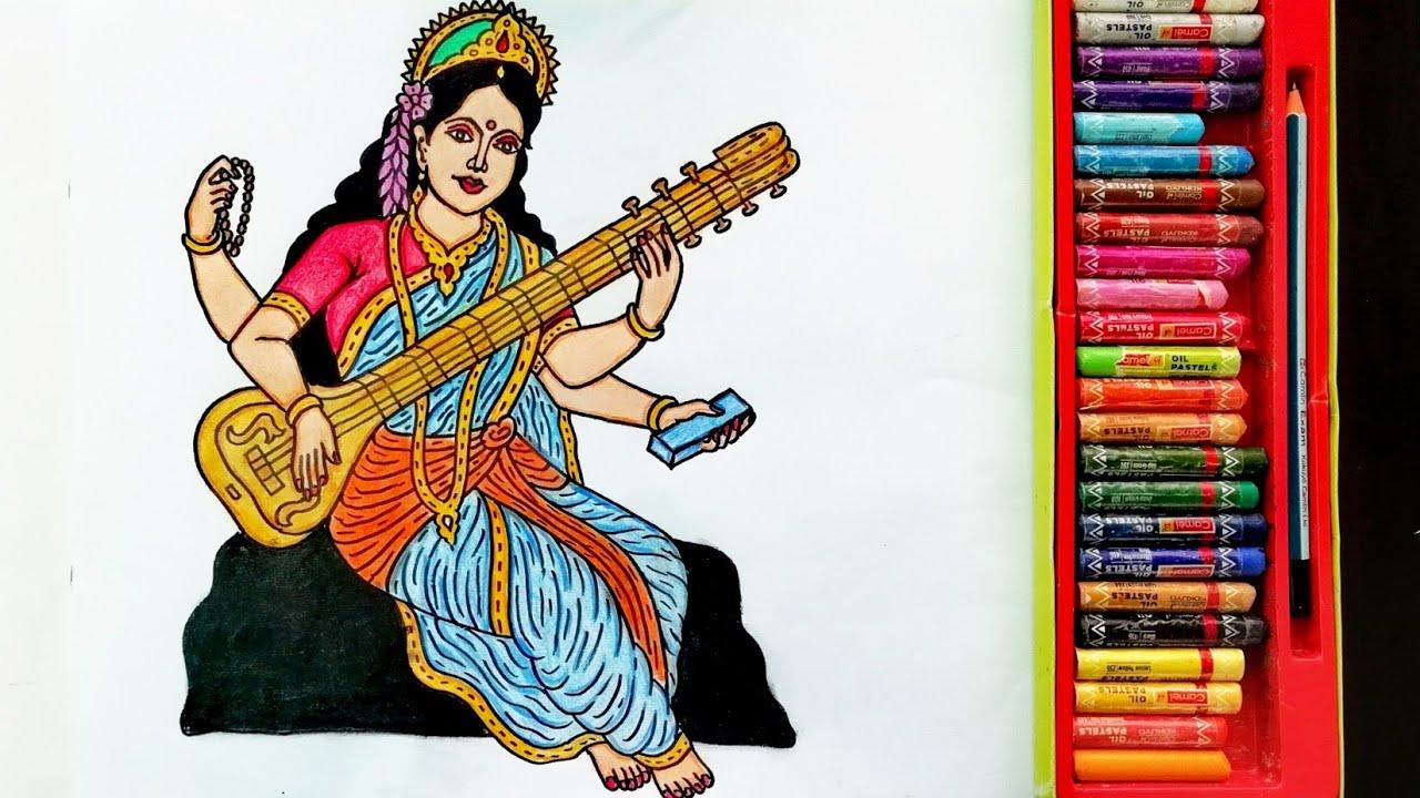 How to Draw Saraswati Mata Step By Step   Painting Of Goddess Saraswati   By Drawing Art