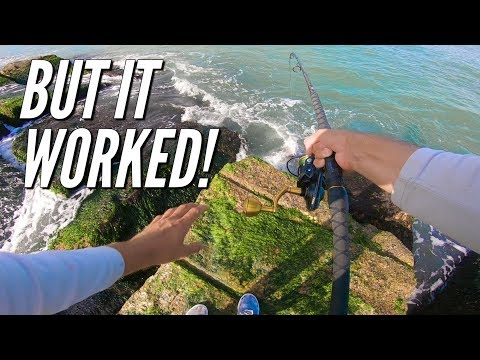 trying stupid things on the rocks while jetty fishing