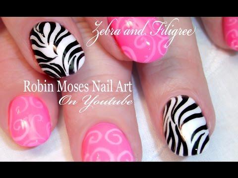 Black and White Zebra Print Nails | Filigree Nail art Design Tutorial