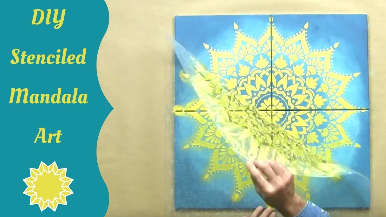 How To Stencil A Mandala On Canvas With Cutting Edge Stencils - YouTube