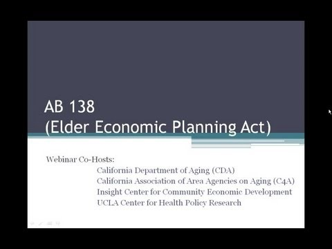 What AAAs Need to Know About AB 138 (Elder Economic Planning Act)