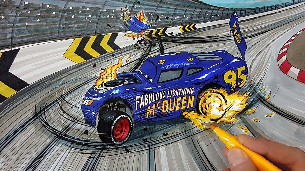 How To Draw Fabulous Lightning Mcqueen Crash Scene Cars 4