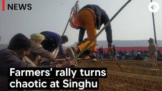 Tear gas, Lathicharge at Singhu Border as Farmers Breach Police Barricades