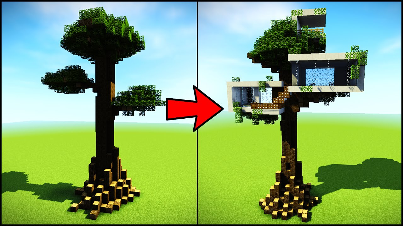 Transforming a Minecraft Tree Into a Modern House YouTube