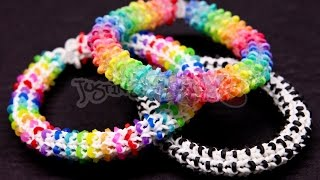 Repeat youtube video How to Make a Rainbow Loom HEXADOTS Bracelet - Switch Loop Hexafish - HARD