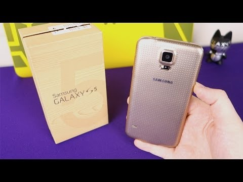 Gold Samsung Galaxy S5 Unboxing & First Boot