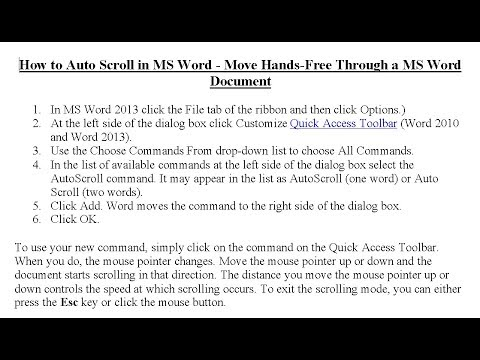 How To Auto Scroll In MS Word - Move Hands-Free Through A Word Documents
