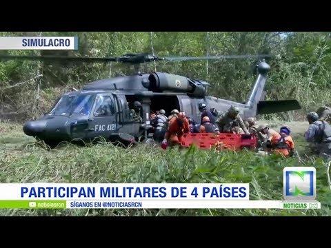 En Colombia se realiza simulacro de varias FFMM sobre un accidente aéreo