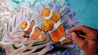 Как нарисовать рыбу цветными карандашами на бумаге .How to Draw clown fish(В этом видео я рисую рыбу - клоуна .Для вашего удобства видео максимально сжато , желаю вам приятного просмот..., 2015-03-22T08:38:03.000Z)