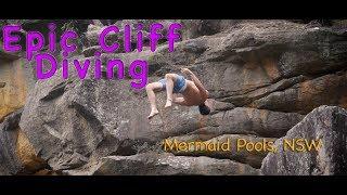 Epic cliff diving in Mermaid Pools in Tahmoor, Sydney Australia