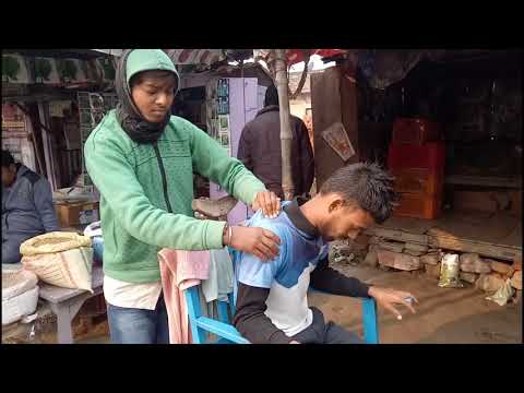 Asmr street barber head, neck and body massage with Tapping sound by Indian village barber