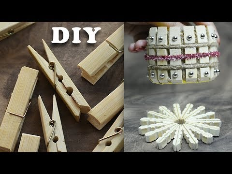 DIY Decor Crafts | Wood Clothespins Pen Holder and Mat