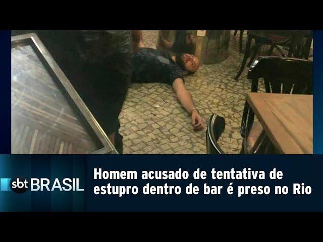 Homem acusado de tentativa de estupro dentro de bar é preso no Rio | SBT Brasil (26/02/19)