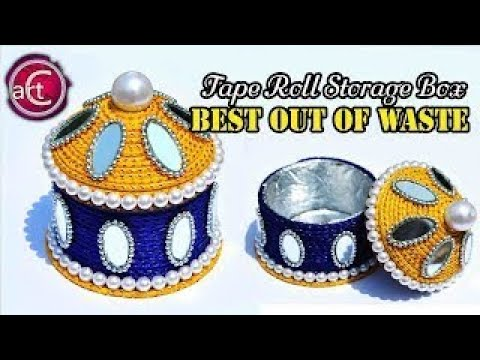 best out of waste | tape roll box | storage containers | diy | recycling | Art with creativity 192