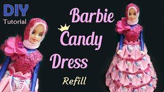 IDE KREATIF DIY - BARBIE GAUN PERMEN LEBARAN   Tutorial Barbie Candy Refill   Tempat permen